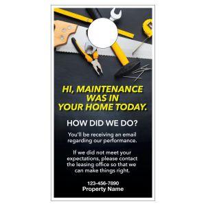 Maintenance Door Hanger - How Did We Do?