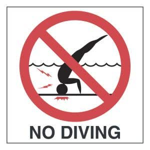 No Diving with Symbol Adhesive Deck Pool Marker