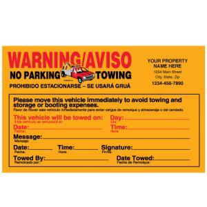 Parking Violation-Imprinted Warning No Parking-Fluorescent Orange-Bilingual