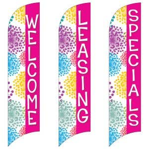 Wave Flags - Colorful Blooms - Pink