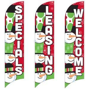 Holiday Wave Flags - Three Snowmen