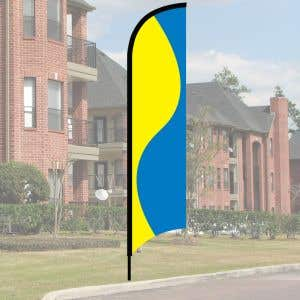 Wave Flag Kit - Yellow and Blue