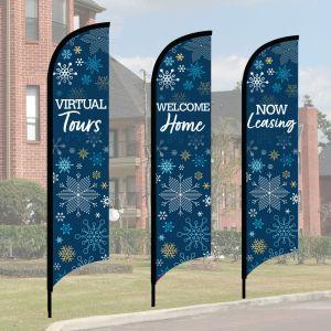 Wave Flag Kits - Winter Snowflakes