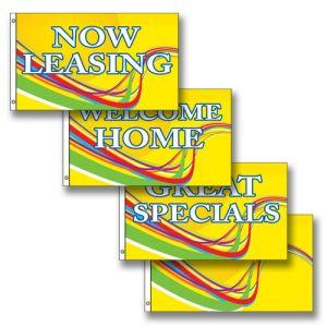 Horizontal Flags - Yellow Swirl