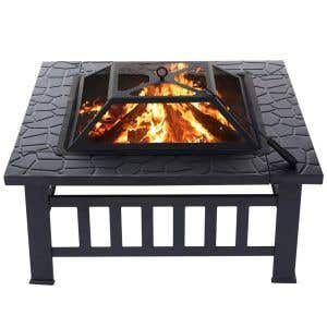 """Fire Pit — 32"""" Square Wood-burning with Cover"""