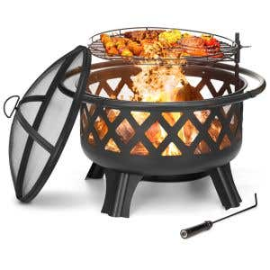 """Fire Pit — 30"""" Designer Wood-burning with Cover"""