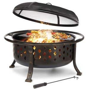 """Bronze Fire Pit — 36"""" Wood-burning with Cover"""