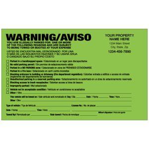 Parking Violation-Imprinted Warning-Fluorescent Green-Bilingual