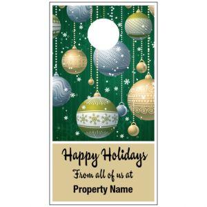 Holiday Door Hanger - Green Ornaments