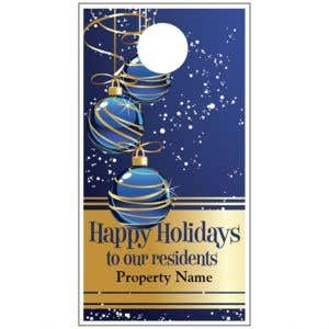 Holiday Door Hanger - Blue and Gold Ornaments