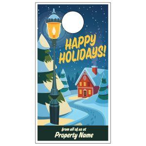 Holiday Door Hanger - Snowy Street Light