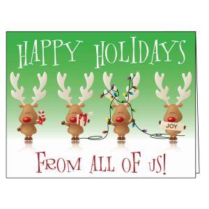 Holiday Card - Reindeer Teamwork