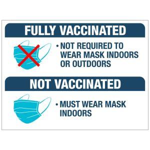 Self-Adhesive Wall Sign - Mask Requirements - Vaccinated