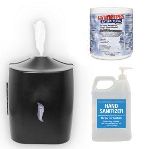 Hand Sanitizer, Dispenser and Wipes - Sanitizing Kit