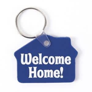 Blue House shaped Welcome Home Vinyl Key Tags