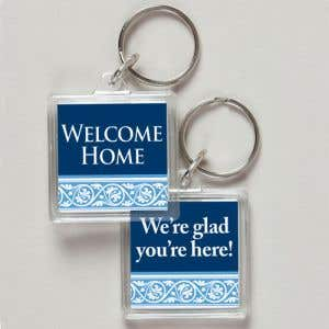Acrylic Key Tag - Blue and White Scroll