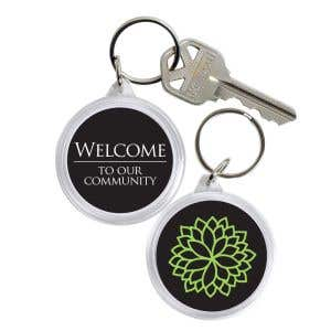 Acrylic Key Tag - Green Flower