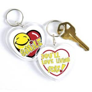 Acrylic Key Tag - Smiley Face with Heart