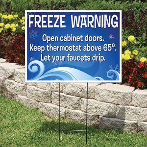 "Bandit Sign Kit - ""Freeze Warning"" Blue on White"
