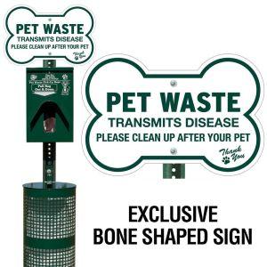 Metal Deluxe Pet Waste Station - Dog Bone Sign
