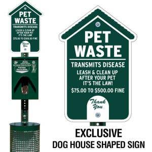 Metal Deluxe Pet Waste Station - Dog House Sign