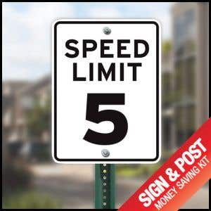 """Speed Limit Sign Kit - """"5 MPH"""" Reflective"""