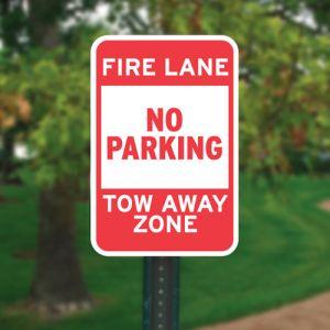 "Fire Lane Sign Kits - ""No Parking Tow Away Zone"""