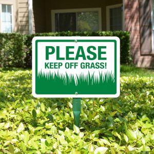 "Yard Sign 18"" Kit - Please Keep Off Grass"