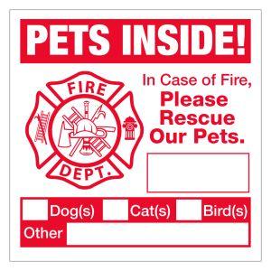Magnetic Pet Permit - Pets Inside Fire Emergency