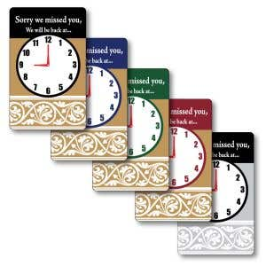 """""""We Will Be Back"""" Sign with Clock - 5"""" x 8"""""""