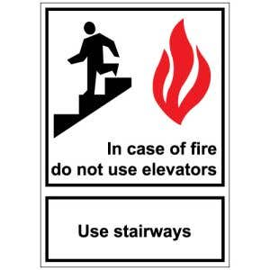 Interior Sign-In Case of Fire Plastic Sign