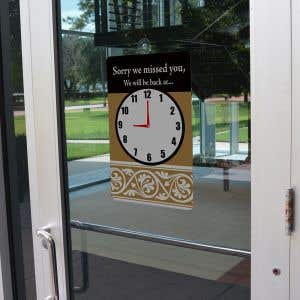 """""""We Will Be Back"""" Sign with Clock - 12"""" x 18"""""""