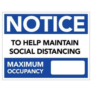 Dry Erase Maximum Occupancy Sign