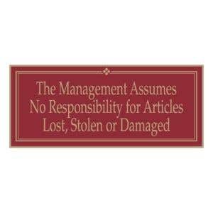 """Laundry Room Signs - """"Management Assumes"""""""