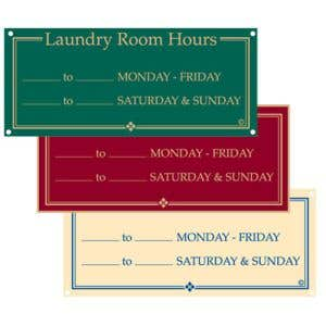 """Laundry Room Signs - """"Laundry Room Hours"""""""