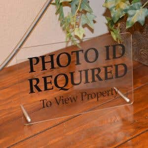 Acrylic Tabletop Sign - Photo ID Required