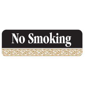 No Smoking Interior Sign Black and Tan Scroll Design