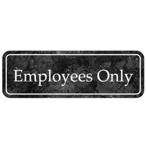 Interior Sign-Employees Only Plastic Sign-Marble