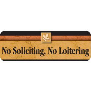 No Soliciting No Loitering Interior Sign Sedona Design