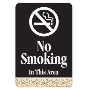 No Smoking in this Area Interior Sign Black and Tan Scroll Design