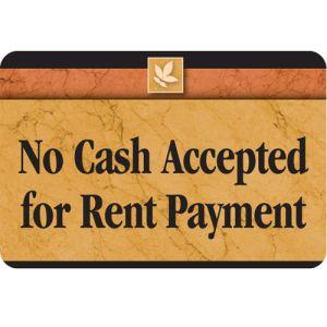 No Cash Accepted Interior Sign Sedona Design