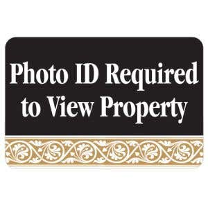 Photo ID Required Interior Sign Black and Tan Scroll Design
