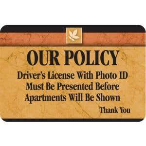 Drivers License Required Interior Sign Sedona Design