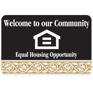 Equal Housing Interior Sign Black and Tan Scroll Design