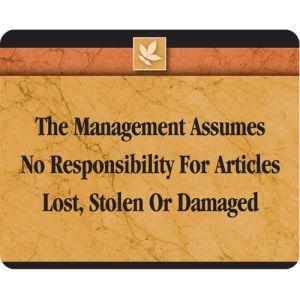 Management Assumes No Responsibility Interior Sign Sedona Design