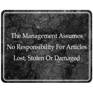 Laundry Room Signs - Management Assumes No Responsibility-Marble