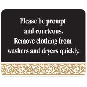 Please Be Courteous Interior Sign Black and Tan Scroll Design