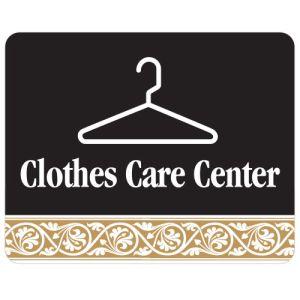 Clothes Care Center Interior Sign Black and Tan Scroll Design