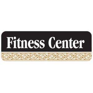 Fitness Center Interior Sign Black and Tan Scroll Design