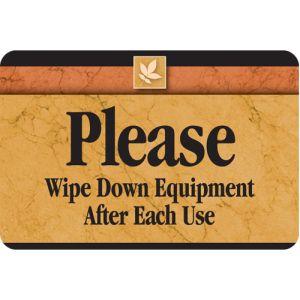 Interior Sign-Wipe Down Exercise Equipment Plastic Sign-Sedona